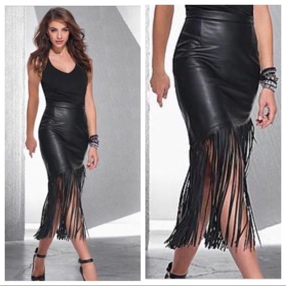 7d3cf49c2477 Venus Faux Leather Fringe Skirt. M 5a6532b284b5cee7df616060